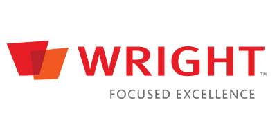 Wright Medical is one of iData Research's clients that purchased a custom survey to analyze the market surrounding their medical devices, features the red, orange and grey logo on a white background