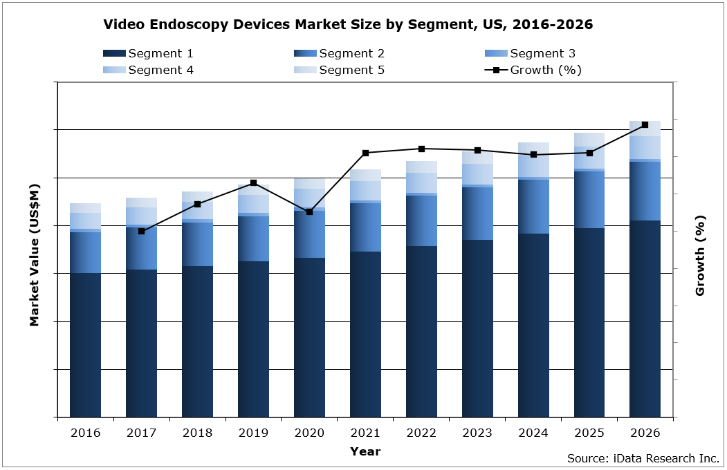 US Video Endoscopy Market Size by Segment, 2016-2026